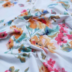 Off White Mango Medium Floral Print on  Double Sided Brushed DTY Stretch Fabric by the Yard