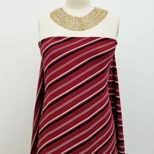 Burgundy Navy Diagonal Stripes Pattern Printed Bubble Chiffon Fabric by the Yard