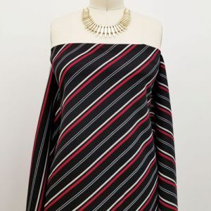 Black and Red Diagonal Stripes Pattern Printed Scuba Crepe Techno Knit Fabric by the Yard