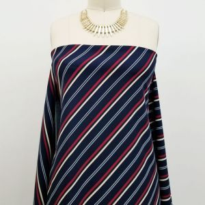 Navy Wine Diagonal Stripes Pattern Printed Scuba Crepe Techno Knit Fabric by the Yard