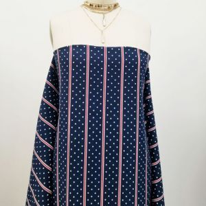 Navy with Red Stripes and Polka Dots Pattern Printed Wool Peach Fabric by the Yard