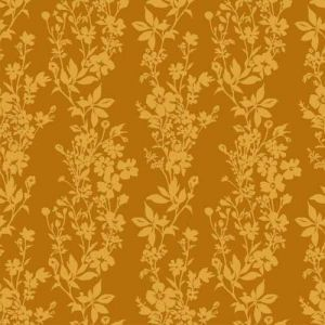 Mustard Floral Printed Burnt-Out Velvet Fabric by the Yard
