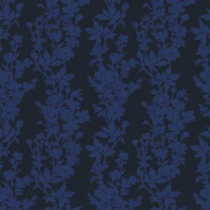 Navy Floral Printed Burn-out Velvet Fabric by the Yard