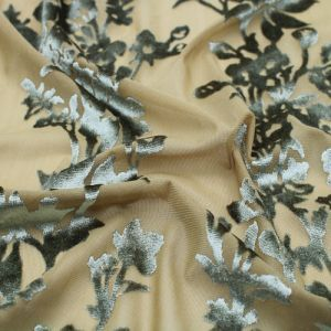 Olive Floral Printed Burnt-Out Velvet Fabric by the Yard