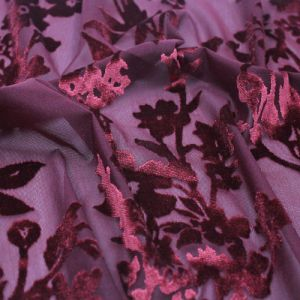 Wine Floral Printed Burnt-Out Velvet Fabric by the Yard