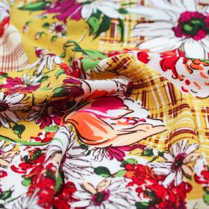Golden Mustard Peach  Conversational Floral Pattern Printed Bubble Chiffon Fabric by the Yard