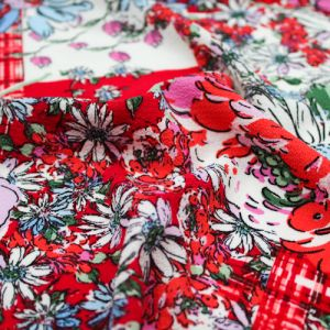 Red Lilac Conversational Floral Pattern Printed Bubble Chiffon Fabric by the Yard
