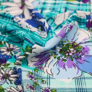 Turquoise Blue Conversational Floral Pattern Printed Bubble Chiffon Fabric by the Yard