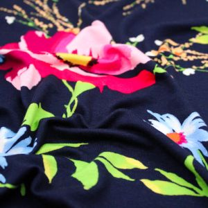 Navy with Pink Large Floral Pattern Prints on Jersey Knit Fabric by the Yard