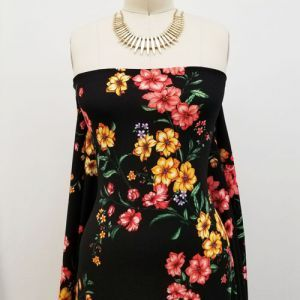 Black with Mango Medium Floral Design Printed Crepe Techno Knit Fabric by the Yard