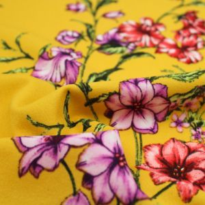 Golden Mustard Gold Medium Floral Design Printed Crepe Techno Knit Fabric by the Yard