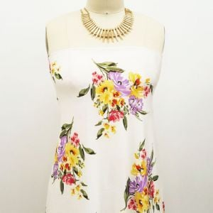 """Ivory Yellow 60"""" Floral Garden Prints on Jersey Knit Fabric by the Yard"""