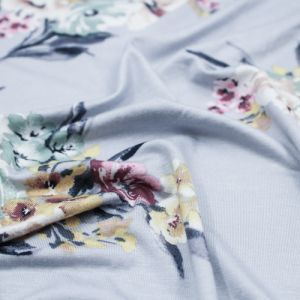 """Silver Sage 60"""" Floral Garden Prints on Jersey Knit Fabric by the Yard"""