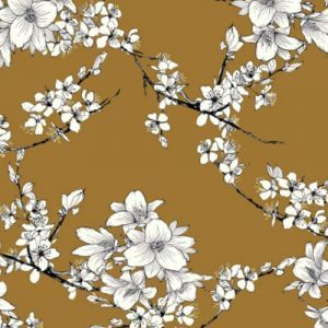 Mustard Ivory Medium Floral Pattern Printed on Double-Sided Brushed DTY Stretch Fabric