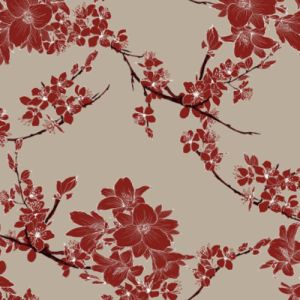 Taupe Rust Medium Floral Pattern Printed on Double-Sided Brushed DTY Stretch Fabric