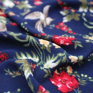 Navy and Red Floral Pattern Printed Bubble Chiffon Fabric by the Yard