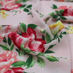 Baby Pink Peach Floral Painterly Printed Crepe Chiffon Fabric by the Yard