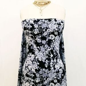 Black Off White Small Floral Pattern Printed on Rayon Crepon Fabric by the Yard
