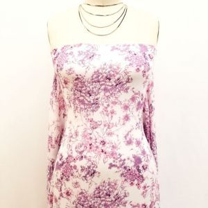 Off White Dusty Lilac Small Floral Pattern Printed on Rayon Crepon Fabric by the Yard