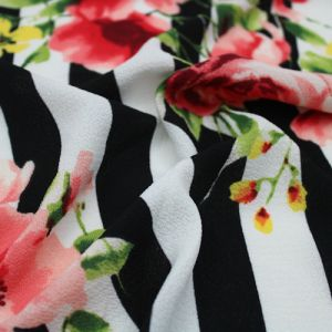 Black Coral Large Floral with Stripes Printed on Bubble Chiffon Fabric by the Yard