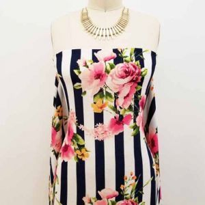 Navy Pink Large Floral with Stripes Printed on Bubble Chiffon Fabric by the Yard