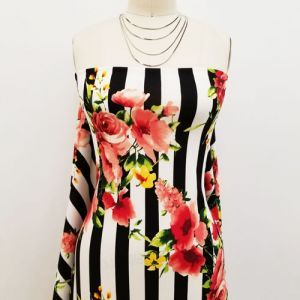 Black Coral Stripes with Large Floral Design Printed Crepe Techno Knit Fabric by the Yard