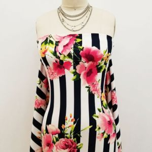 Navy Pink Stripes with Large Floral Design Printed Crepe Techno Knit Fabric by the Yard