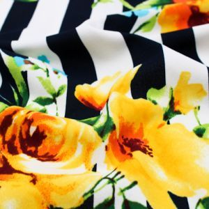 Navy Yellow Stripes with Large Floral Design Printed Crepe Techno Knit Fabric by the Yard