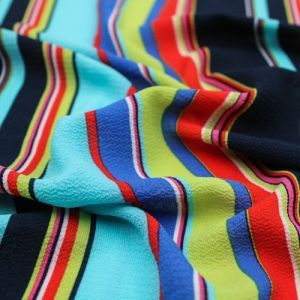 Navy Blue Vertical Stripes Pattern Printed Bubble Chiffon Fabric by the Yard