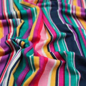 Navy Pink Variegated Stripes Pattern Printed Rayon Spandex Jersey Knit Fabric by the Yard