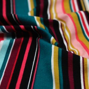 Teal Coral Variegated Stripes Pattern Printed Rayon Spandex Jersey Knit Fabric by the Yard