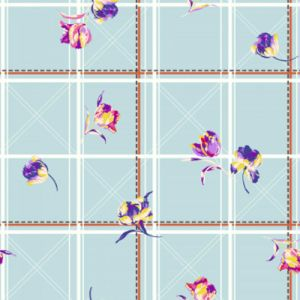 Angel Blue Orchid Floral wCheckered Pattern on Double-Sided Brushed DTY Stretch Fabric