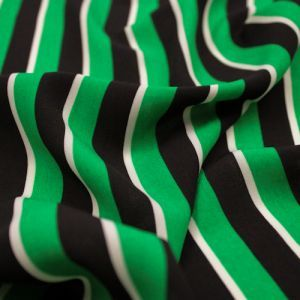 Black and Green Stripes Pattern Print on Wool Peach Fabric by the Yard