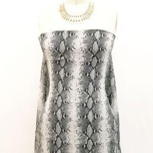 Off White Gray Snake Skin Pattern Printed on Hi-Multi Chiffon Fabric