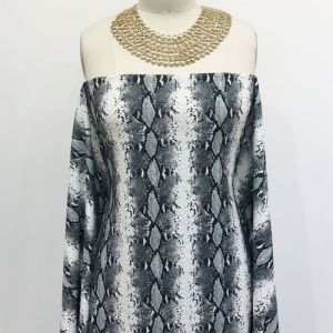Off White Grey Snake Skin Pattern Printed Scuba Crepe Techno Knit Fabric by the Yard