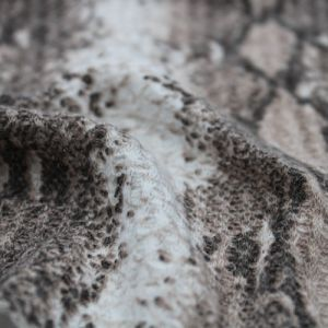 Off White Coffee Snake Skin Pattern Printed on Waffle Non Brushed Knit Fabric by the Yard