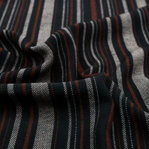 Black and Brick Textured Stripes Design Printed Wool Peach Fabric by the Yard