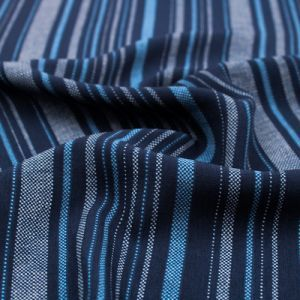 Navy and Blue Textured Stripes Design Printed Wool Peach Fabric by the Yard