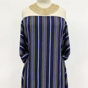 """Navy Gold Textured Stripes Design Printed 55"""" Light-Weight Rayon Challis Fabric by the Yard"""
