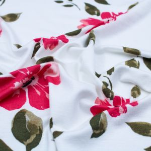 Off White Watermelon Medium Floral Pattern Prints on Jersey Knit Fabric by the Yard