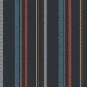 Black Turquoise Vertical Stripes Design Printed on Rayon Challis Fabric