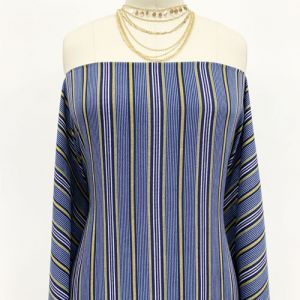 """Dark Navy Gold Textured Stripes Design Printed 55"""" Light-Weight Rayon Challis Fabric by the Yard"""