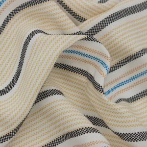 """Off-white Banana Textured Stripes Design Printed 55"""" Light-Weight Rayon Challis Fabric by the Yard"""