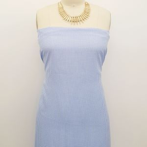 Baby Blue Off White Checkered Pattern Printed on 100% Polyester  Wool Peach Fabric