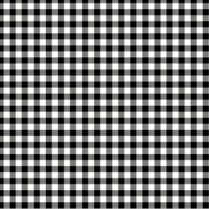 Black Off White Checkered Pattern Printed on 100% Polyester  Wool Peach Fabric