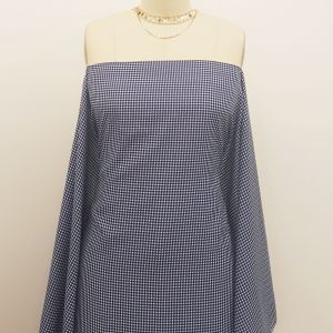Navy Off White Checkered Pattern Printed on 100% Polyester  Wool Peach Fabric