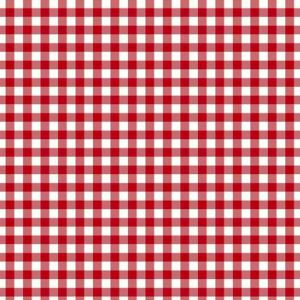 Red Off White Checkered Pattern Printed on 100% Polyester  Wool Peach Fabric