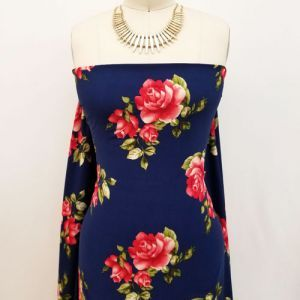 Navy with Red Medium Floral Design Printed Wool Peach Fabric by the Yard