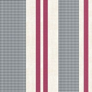 Black with Cranberry Gingham Checkered Pattern Printed Wool Peach Fabric