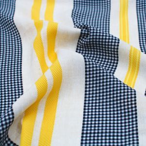 Black and Yellow Gingham Checkered Pattern Printed Wool Peach Fabric by the Yard